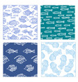 set of seamless fish and jellyfish patterns vector image