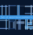 set of seamless patterns with stripes in a cage vector image vector image