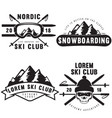 set of vintage snowboarding ski or winter sports vector image vector image