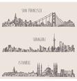Shanghai Istanbul San Francisco city sketch vector image vector image
