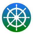 ship wheel sign white icon in bluish vector image vector image