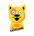 smilling yellow cat saying excellent on a white vector image