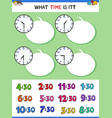 telling time with clock face educational game vector image vector image