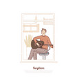 young guy playing acoustic guitar musician vector image vector image