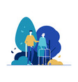 young man with old lady in park flat vector image