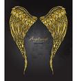hand drawn ornate golden angel wings in zentangle vector image