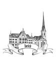 zurich city switzerland travel landmark label vector image