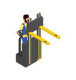 forklift cart isometric 3d icon vector image