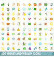100 money and wealth icons set cartoon style vector image vector image