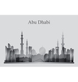 Abu Dhabi city skyline silhouette in grayscale vector image vector image