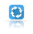 arrows icon blue sign with shadow and reflection vector image