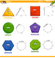 basic geometric shapes drawing workbook vector image vector image