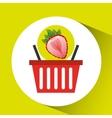 basket market sweet strawberry icon design vector image