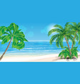 beautiful tropical beach and palm trees vector image