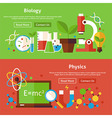 Biology and Physics Science Flat Website Banners vector image