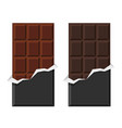 black and milk chocolate bar set on white vector image vector image