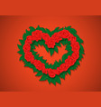 bouquet of red roses with green leaves in the vector image vector image