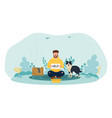 bum sitting on ground with dog on street begging vector image vector image