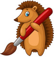 cartoon hedgehog character with big brush vector image vector image