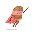 cartoon potato superhero flat character with pink vector image