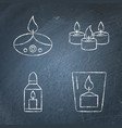 chalkboard candle icons set in line style vector image vector image