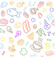 colored line ico nsfood seamless pattern vector image