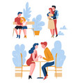 couples on date isolated characters love and care vector image