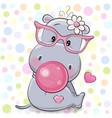 cute cartoon hippo with bubble gum vector image