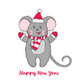 cute mouse character in santa claus hat vector image