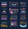 dance lettering dancing sign and dancer vector image