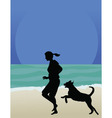 dog on beach vector image vector image