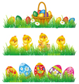 easter eggs and chicken in grass vector image vector image