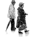 elderly spouses on a walk vector image vector image