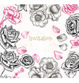 floral invitation background with roses for design vector image