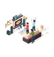 gamers isometric game developer testing playing vector image vector image
