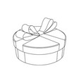gift box with ribbon bow hand drawn sketch vector image