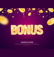 golden shine bonus word banner for gambling vector image vector image