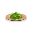 green noodles with slices of lemon in ceramic vector image