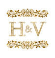 h and v vintage initials logo symbol vector image vector image
