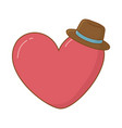 heart and hat vector image vector image