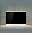 laptop with a black screen on desk vector image vector image