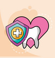 love dentistry tooth shield protection cross vector image