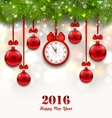 New Year Magic Background with Clock Fir Twigs vector image