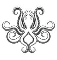 octopus engraving vector image vector image
