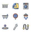 pipe chief icons set flat style vector image vector image