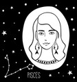 pisces woman with zodiac sign vector image vector image