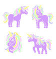 purple unicorn set on the white background vector image vector image
