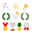 rewards cup and medals man with cup on top vector image vector image