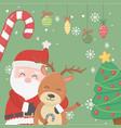 santa hugging reindeer tree candy cane balls vector image vector image