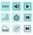 set of 9 music icons includes skip song start vector image vector image